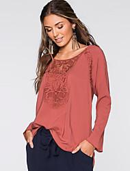 Damen Solide Einfach / Street Schick Lässig/Alltäglich T-shirt,Rundhalsausschnitt Frühling / Herbst Langarm Rot / Weiß Polyester Mittel