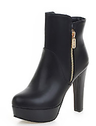 Women's Round Closed Toe Solid Low Top High Heels Boots