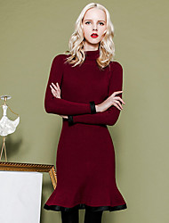 MASKED QUEEN Women's Going out Simple Trumpet/Mermaid DressSolid Turtleneck Above Knee Long Sleeve