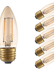 2W E26/E27 Ampoules à Filament LED B 2 COB 160 lm Ambre Gradable V 6 pièces