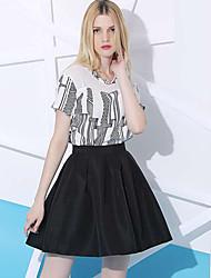 Damen Röcke - Einfach Übers Knie Polyester Mikro-elastisch