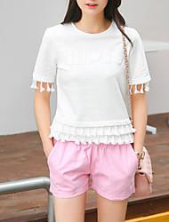 Damen Solide Einfach Lässig/Alltäglich T-shirt,Rundhalsausschnitt Alle Saisons Kurzarm Weiß Baumwolle Mittel