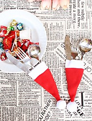 1pcs Mini Red Santa Claus Socks Cutlery Favor Bag / Xmas Party Supplies / Dinner Decor