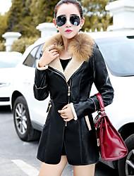 Женский На выход Однотонный Кожаные куртки Лацкан с тупым углом,Простое Зима Черный Длинный рукав,Полиуретановая,Тонкая