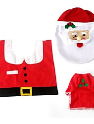 1set Home Stia Non-woven Santa Toilet Set Christmas Decor Toilet Seat Cover Tissue Box Cover Tank Cover Rug Xmas Decor