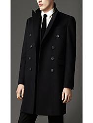 Men's Casual/Daily Simple Coat,Solid Shirt Collar Long Sleeve Winter Black Wool Medium