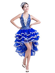 Latin Dance Dresses Women's Performance Chinlon Sequins 1 Piece  Latin Dance Sleeveless Natural Dress