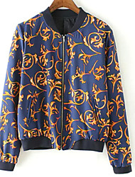 Women's Casual/Daily Simple Jackets,Print Long Sleeve Winter Blue Cotton