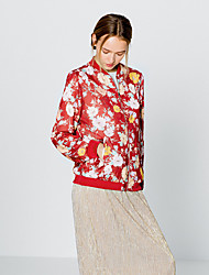 Women's Going out Cute Jackets,Floral Stand Long Sleeve Fall Red Polyester Medium