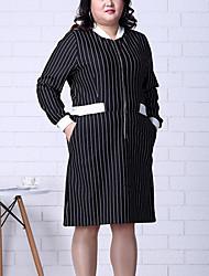 Gaine Robe Femme Sortie / Grandes Tailles simple,Rayé Col en V Mi-long Manches Longues Noir Polyester Automne / Hiver Taille Normale