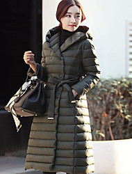 Women's Long Down Coat,Street chic Casual/Daily Solid-Polyester White Goose Down Long Sleeve Hooded Black / Green