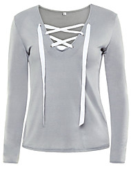 Women's Lace up Casual/Daily Sexy All Seasons T-shirtSolid Round Neck Long Sleeve Blue / Pink / Black / Gray /