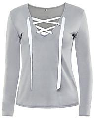 T-shirt Da donna Casual Sensuale Per tutte le stagioni,Tinta unita Rotonda Cotone Blu / Rosa / Nero / Grigio / Verde Manica lungaMedio