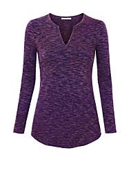 Damen Solide Einfach Lässig/Alltäglich T-shirt,V-Ausschnitt Herbst Langarm Rot / Weiß / Grau / Lila Baumwolle Undurchsichtig