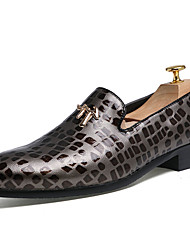 Men's Shoes Leather Fall Comfort Loafers & Slip-Ons Walking Shoes Sparkling Glitter For Casual Black Gray Burgundy