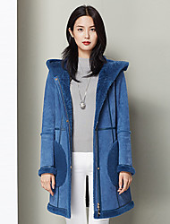 Xuebao Women's Casual/Daily Simple Fur CoatSolid Hooded Long Sleeve Fall / Winter Blue Wool Thick