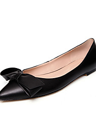 Women's Flats Spring Fall Comfort Leather Casual Flat Heel Bowknot Black Pink Red Others
