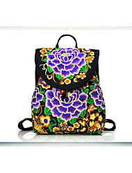 Casual Outdoor Backpack Women Canvas Polyester Purple Blue Gold Red Multi-color