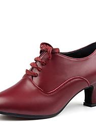 Chaussures de danse(Noir / Rouge) -Non Personnalisables-Talon Bottier-Cuir-Latine