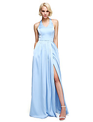 2017 Lanting Bride® Floor-length Satin Chiffon Furcal Bridesmaid Dress - V-neck with Bow(s) / Split Front