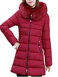 Women's Regular Padded CoatSimple / Street chic Plus Size Loose Fur Trim Slim Thick Warm Casual Solid Long Sleeve Hooded