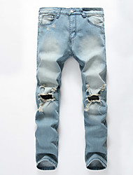 Famous Brand Men's Solid Blue Jeans / Chinos PantsSimple Spring / Fall Hot Sale Demin Pants
