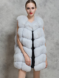 Women's Going out / Casual Street chic Fur Coat Vest Solid Round Neck Sleeveless Winter Red / White / Black / Gray Faux Fur