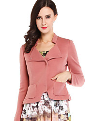 CANTO MOTTO Women's Casual/Daily Simple JacketsSolid Notch Lapel Long Sleeve Fall Pink Wool / Acrylic Thin / Thick