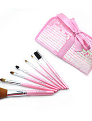 7 Makeup Brushes Set Synthetic Hair Professional / Portable Wood Face / Eye / Lip Pink