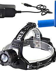 Iluminação Lanternas de Cabeça LED 900 Lumens Lumens 3 Modo Cree T6 18650.0 Regulável / Recarregável / Controle de Ângulo / Super Leve