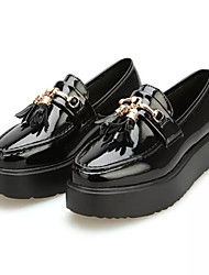 Women's Loafers & Slip-Ons Spring Comfort PU Casual Platform Tassel Black / Burgundy Others