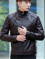 Masculino Jaquetas de Couro Tamanhos Grandes Moda de Rua Inverno,Sólido Preto / Marrom Poliuretano Colarinho Chinês-Manga Longa Grossa