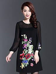AINIER Women's Casual/Daily Chinoiserie Tunic DressJacquard Round Neck Above Knee Long Sleeve Black Polyester Spring / Fall Mid Rise
