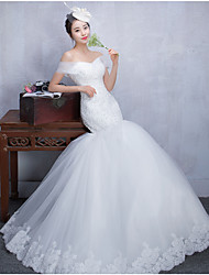Fit & Flare Wedding Dress Floor-length Off-the-shoulder Tulle with Beading