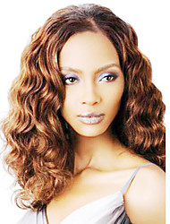 Fashionable Coffee Long Curly Middle-divided Wig Cap Lifestyle Brown Synthetic Wig