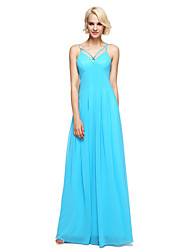 LAN TING BRIDE Floor-length Spaghetti Straps Bridesmaid Dress - Elegant Sleeveless Georgette