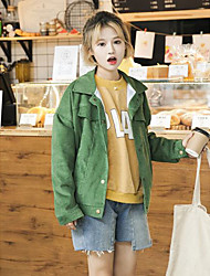 Women's Going out / Casual/Daily Simple / Street chic Denim Jackets,Solid Shirt Collar Long Sleeve Spring / Fall Pink / Green / Yellow
