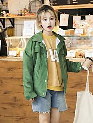 Feminino Jaquetas Jeans Happy-Hour / Casual Simples / Moda de Rua Primavera / Outono,Sólido Rosa / Verde / Amarelo AlgodãoColarinho de