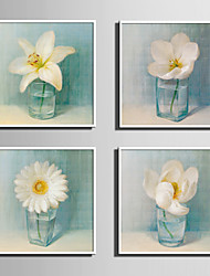 E-HOME® Framed Canvas Art, Small White Flowers in The Bottle Framed Canvas Print Set of 4