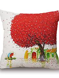 Polyester Decorative Cushion Pillow Cover Print Plant Tree Sofa Home Decor 45x45cm