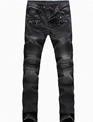 Hommes Grandes Tailles Ample / Droite Jeans Pantalon,Street Chic / Vintage Décontracté / Quotidien Couleur Pleine Plissé Taille Normale