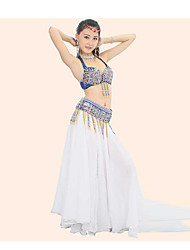 Belly Dance Outfits Performance Cotton / Polyester Beading / Crystals/Rhinestones / Paillettes / Sequins / Tassel(s) 2 Pieces Top/Belt