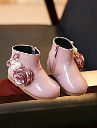 Girl's Boots Fall / Winter Others / Comfort PU Outdoor / Casual Flat Heel Zipper / Flower Black / Pink Others