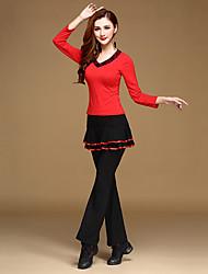 Костюм в латинском стиле, кофта с длинным рукавом, юбка с плиссировкой, брюки
