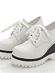 Damen-High Heels-Lässig-Leder-Blockabsatz-Others-Schwarz / Weiß