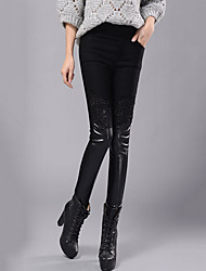 Women's Lace Patchwork Black Plus Velvet Thickening Skinny Pants Plus Size /Casual Sexy /Street High Waist Fall /Winter