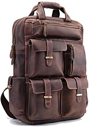 Casual Backpack Men Cowhide Brown