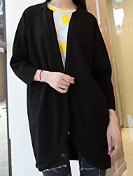 Women's Casual/Daily Simple Jackets,Solid Round Neck Long Sleeve Fall / Winter Black Polyester Medium