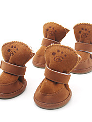 Dog Shoes & Boots Fashion / Keep Warm Winter / Spring/Fall Solid Brown / Pink Cotton