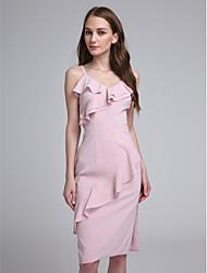 2017 lanting bride® genou en mousseline de soie élégante robe de demoiselle d'honneur - bretelles spaghetti avec des volants